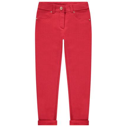 Pantalon en molleton skinny détails métal rose