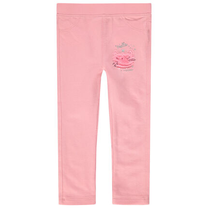 Jegging rose uni avec chat en sherpa