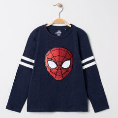T-shirt manches longues motif Spiderman en sequins magiques