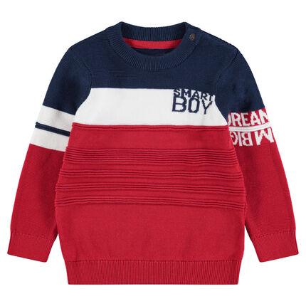 Pull en tricot avec inscriptions en jacquard