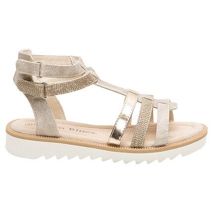 Sandalen met riemen met textuur en gouden toetsen