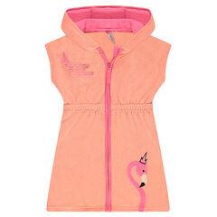 Robe à capuche en éponge avec flamant rose brodé