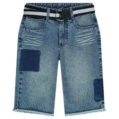 Junior -  Gestreepte jeansbermuda met afneembare riem