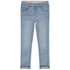 Skinny jeans met used en crinkle effect