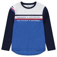 Junior - Tee-shirt manches longues en jersey avec inscriptions printées