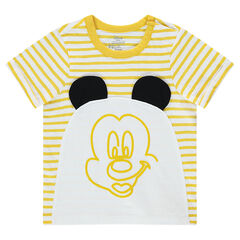 Tee-shirt manches courtes en jersey rayé Disney print Mickey