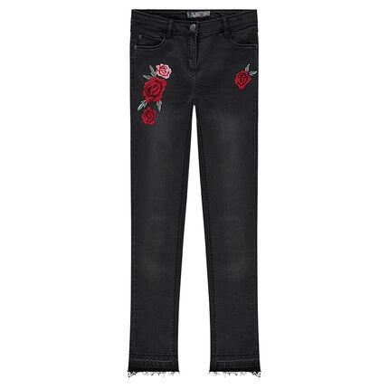 Junior - Jeans effet used et crinkle avec roses brodées
