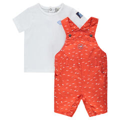 Tee-shirt manches courtes avec salopette courte imprimée
