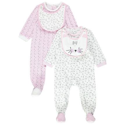 Set van 2 pyjama's van velours met geïntegreerd en verwijderbaar slabbetje