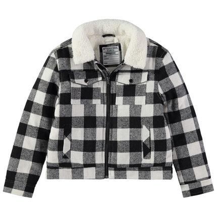 Junior - Veste à carreaux doublée sherpa à poches