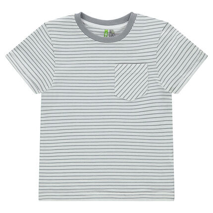 Tee-shirt manches courtes à rayures all-over avec poche