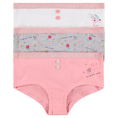 Junior - Lot de 3 shorties en coton avec prints fantaisie et boutons
