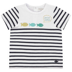 T-shirt met korte mouwen van biokatoen met strepen en vissen