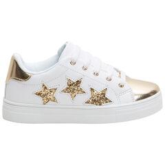 Baskets basses avec empiècements dorés et étoiles pailletées