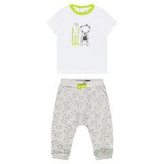 Ensemble tee-shirt printé et pantalon imprimé animaux all-over