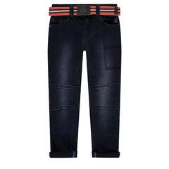Straight-fit jeans met used effect en afneembare riem