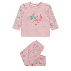 Pyjama van velours met bloemenmotief
