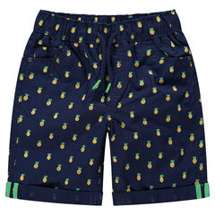 Short en coton avec imprimé ananas all-over