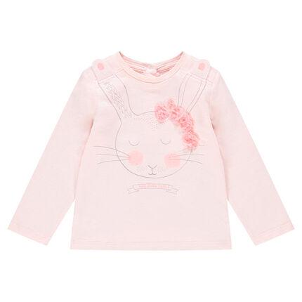 T-shirt met lange mouwen van jerseystof met konijnprint en bloemen in reliëf