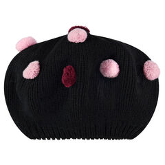 Bonnet en tricot forme boule avec pompons contrastés