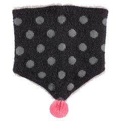 Snood van tricot met haartjes en voering van sherpastof met pompon