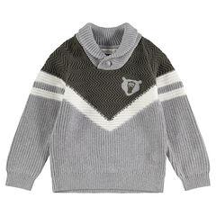Pull en tricot avec bandes en jacquard et badge ours