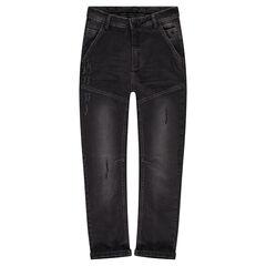 Junior - Jeans effet used et crinkle avec découpes