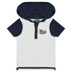 Polo manches courtes à capuche avec inscription brodée