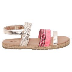 Gouden lederen sandalen met vlechtjes en franjes