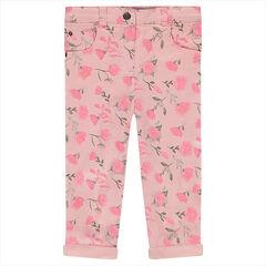 Pantalon en coton imprimé roses all-over