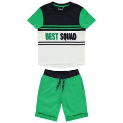 Ensemble avec t-shirt à inscription en bouclette et bermuda vert