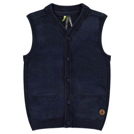 Gilet en tricot surteint avec poches