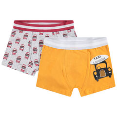 Set met 2 katoenen boxers met print met bus en taxi