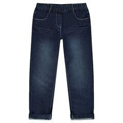 Jeansbroek used effect en crinkle effect elastische tailleband