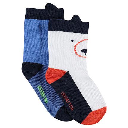 Set met 2 paar matching sokken met reliëforen