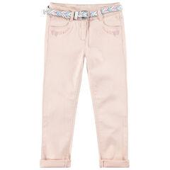 Slim-fit broek van twill met gevlochten en afneembare riem