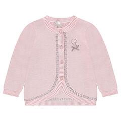 Gilet en tricot fin avec oiseau brodé et noeud satiné