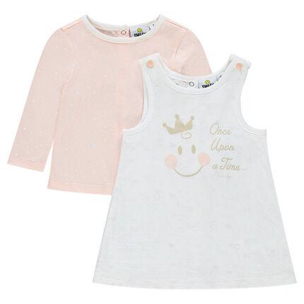 Ensemble robe sans manches et tee-shirt avec print Smiley Baby