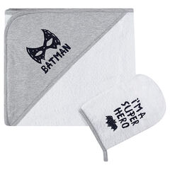 Set de bain avec cape et gant de toilette BATMAN