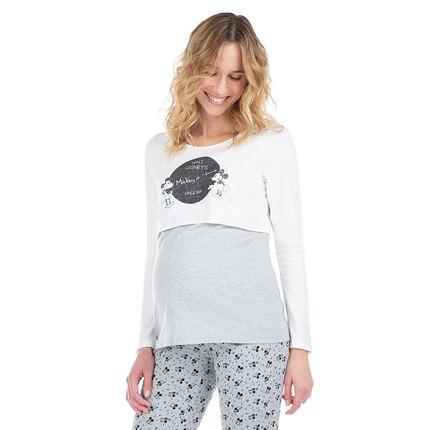 Tee-shirt manches longues effet 2 en 1 print Mickey et Minnie ©Disney