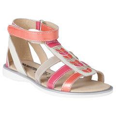Open schoenen in leder patch in gekleurd kleur