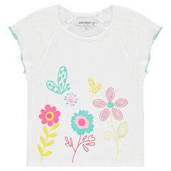T-shirt met korte mouwen uit slub jerseystof met geborduurde bloemen en prints