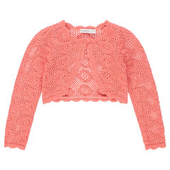 Korte vest van tricot met ajour