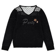 Trui van opengewerkt tricot met kant en hartjes