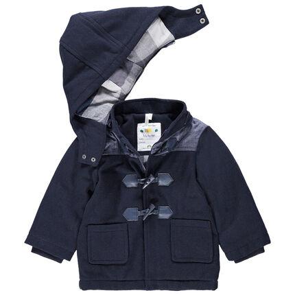 Duffle coat en drap de laine doublé flanelle à carreaux