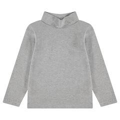 Junior - Sous-pull en jersey uni à col roulé avec logo brodé