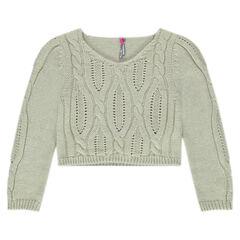 Pull court en tricot torsadé