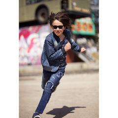 Junior - Jeans met used effect, slijtage, patches en opschriften