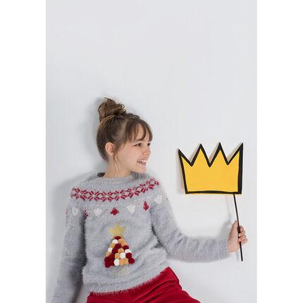 Kersttrui 10 Euro.Junior Kersttrui Van Tricot Met Haartjes En Kleurrijke Pompons In