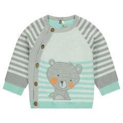 Gilet en tricot avec ourson patché et rayures contrastées